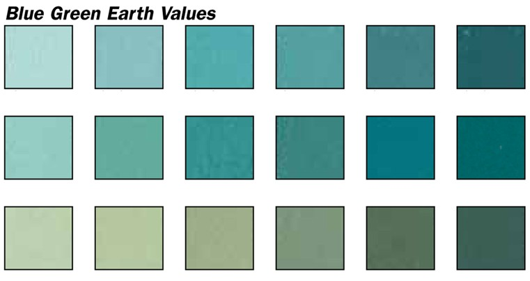 blue green earth values pastel set 18 colors