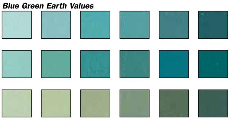 Blue Green Earth Values Pastel Set 18 Colors